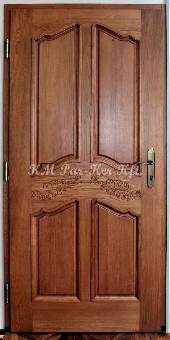 bejárati ajtó, nyílászáró 12, tömör, faragott tölgy