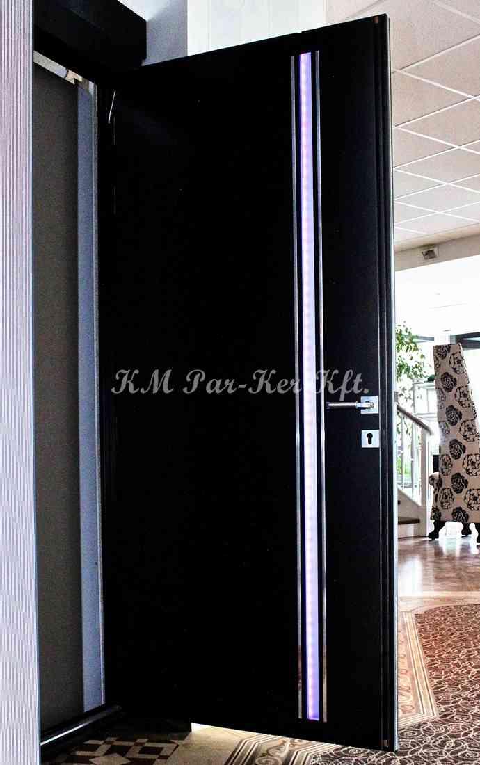 beltéri ajtó, nyílászáró, ledes üveg, fekete festett