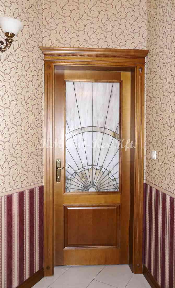 beltéri ajtó, nyílászáró 25, ólomüveg, pácolt juhar