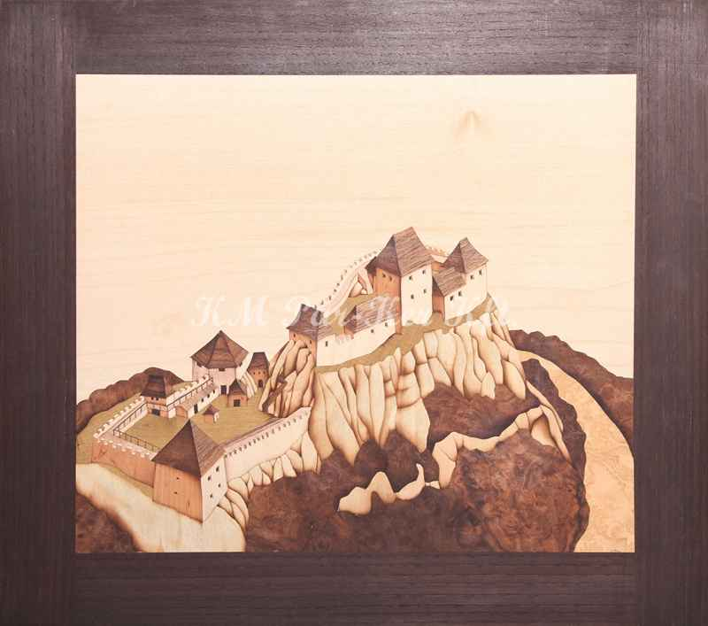 Intarsien Bild -Burg Sirok