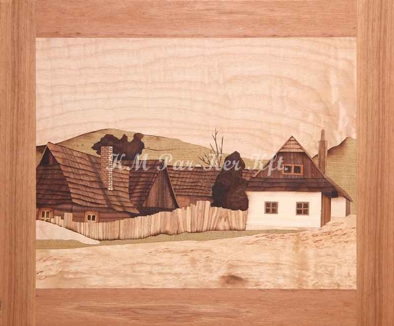 Intarsien Bild -Häuser auf dem Lande