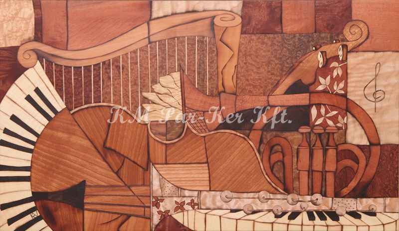 Intarsien Bild -Musikinstrumente 2