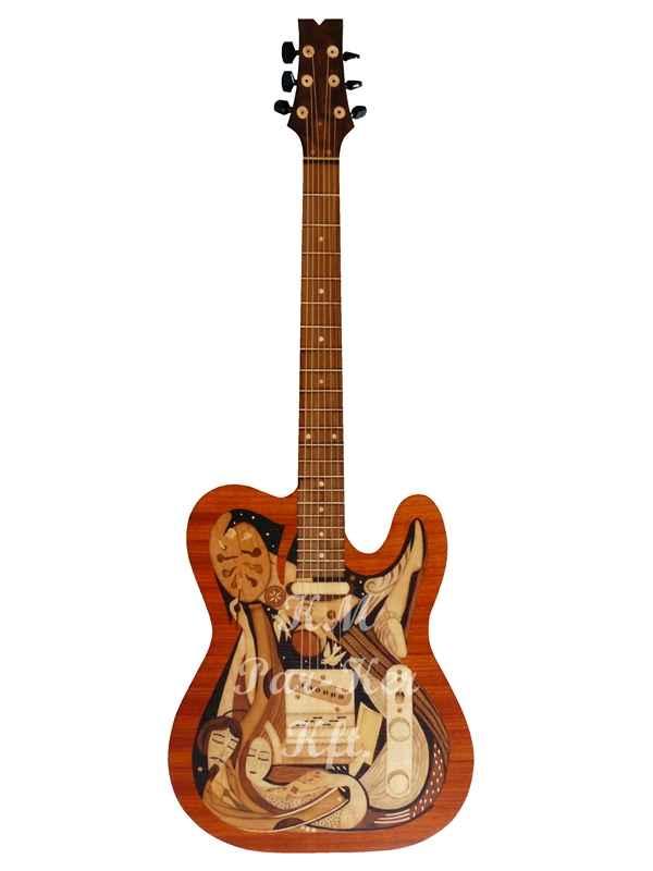 Intarsien Kunst -Gitarre: In Gitarre gesperrte Synthese