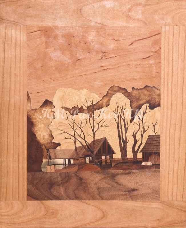 Intarsienkunst -Stilleben im Wald