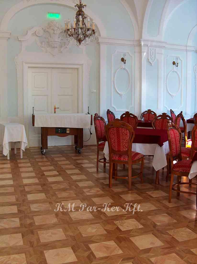 Tafelparkett, Intarsien Parkett 11, Virginia (Eiche, Asche), Park Hotel Eger