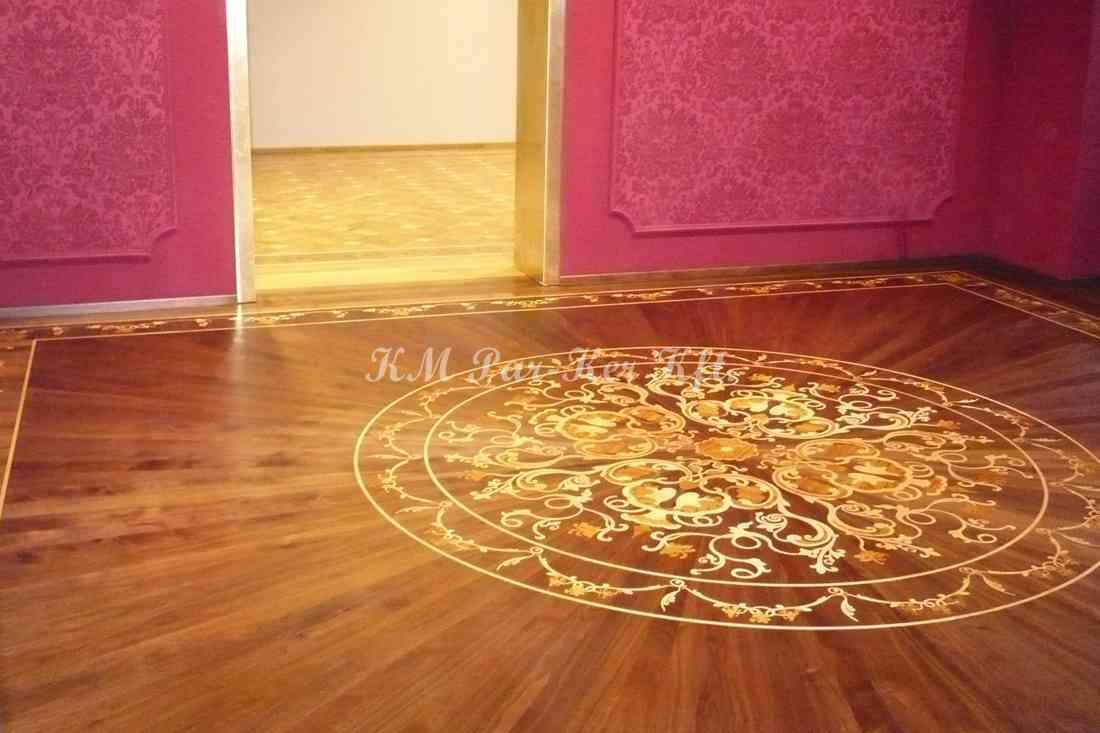 Tafelparkett, Intarsien Parkett Medaillon 07, Holz Teppich