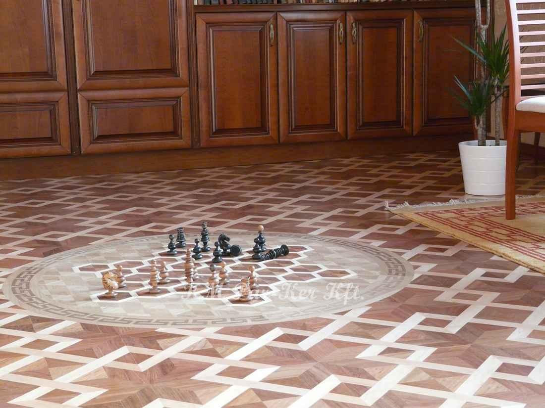 Tafelparkett, Intarsien Parkett Medaillon 09, Schach