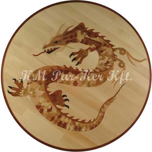 Tafelparkett, Intarsien Parkett Medaillon, Chinesische Drachen