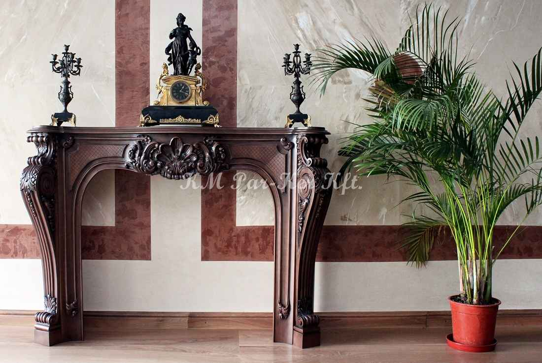 carved furniture 13, wooden fireplace