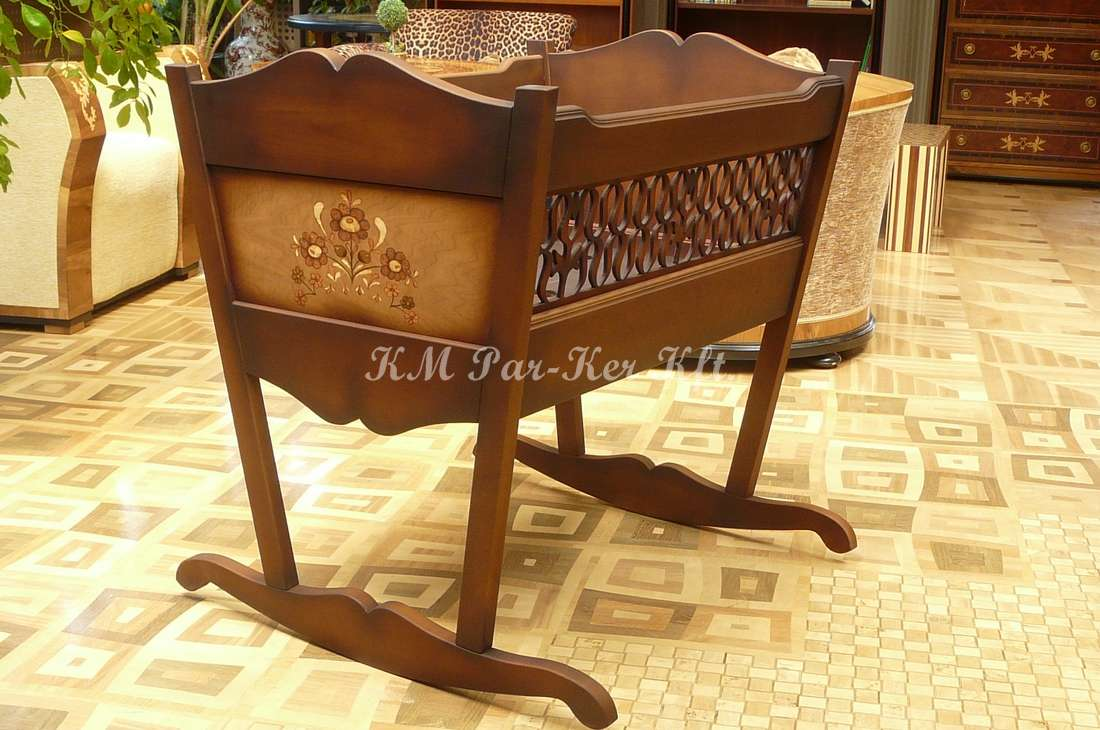custom furniture 12, marquetry cradle