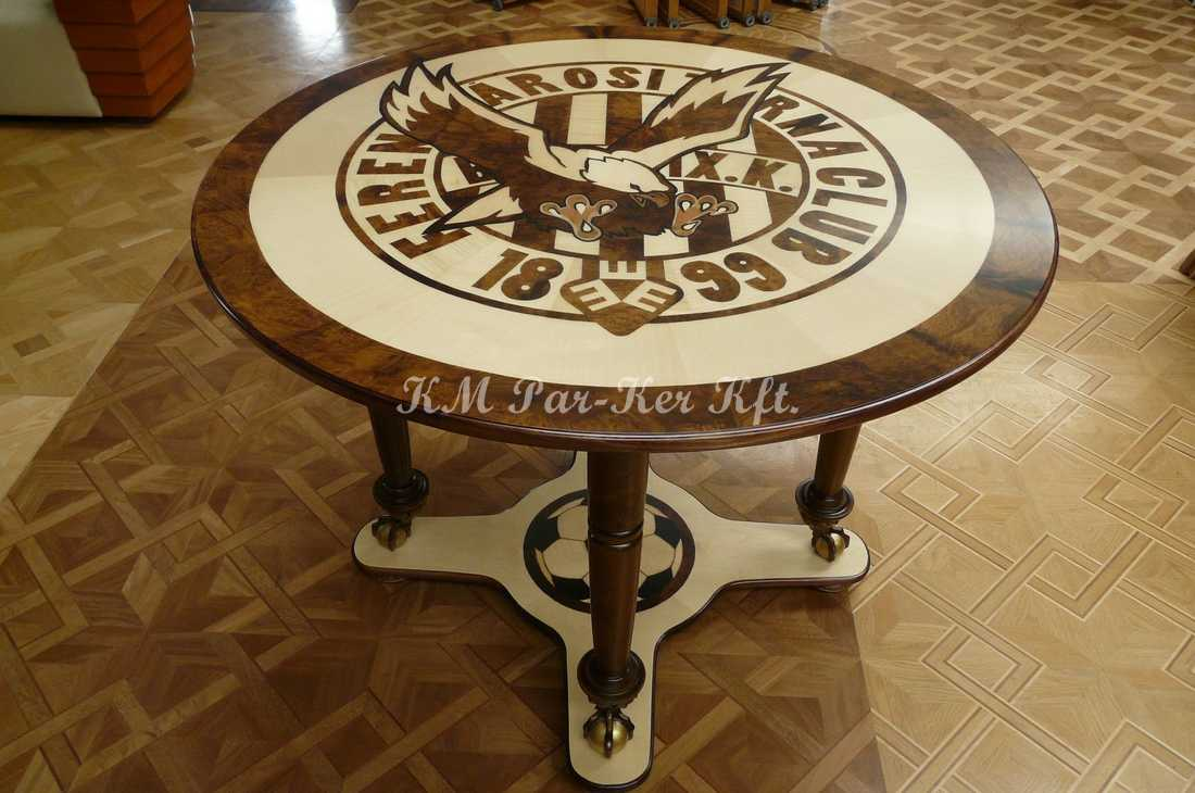 marquetry furniture 80, football coffee table, Ferencváros