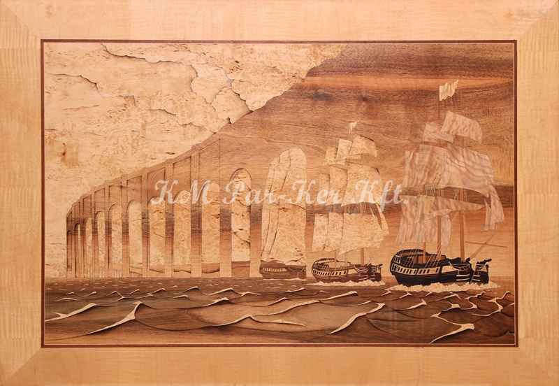 marquetry picture -Boat fantasy -Illusion
