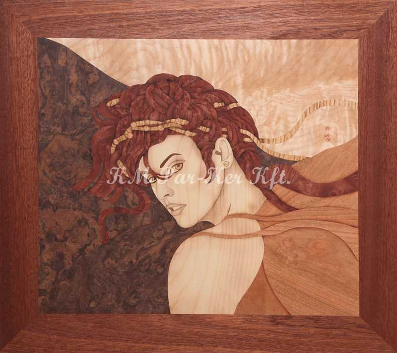 marquetry picture -Girl with red hair