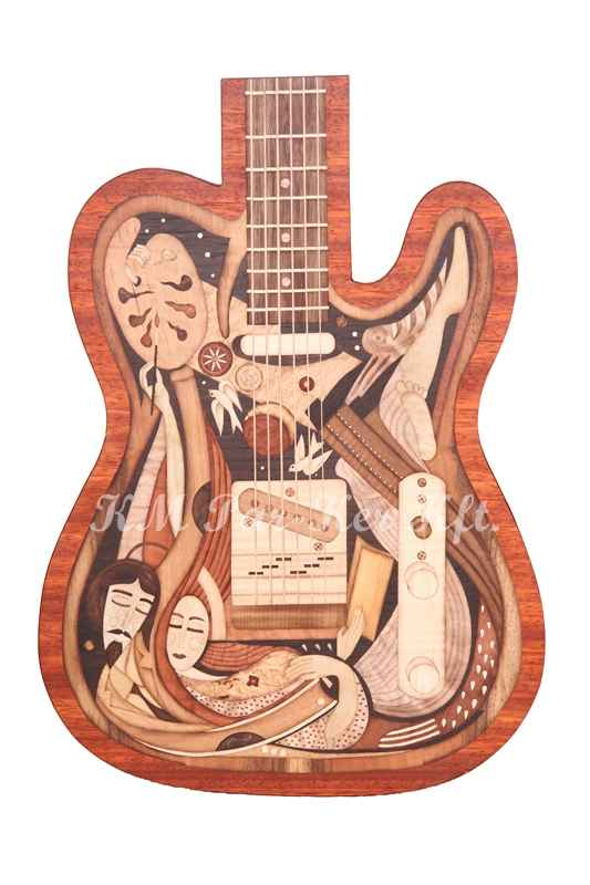 marquetry picture -Guitar closed synthesis