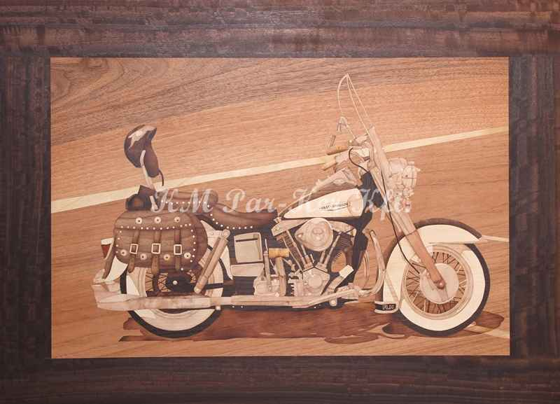 marquetry picture -Harley Davidson