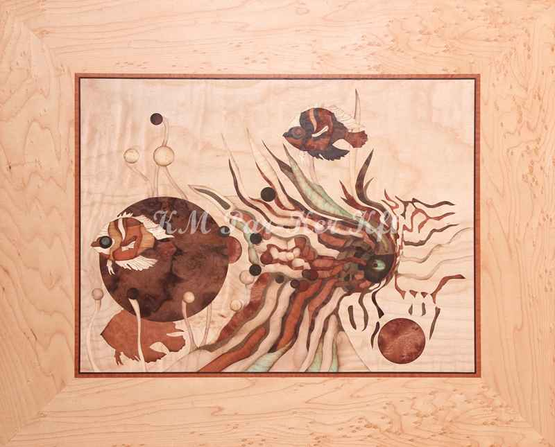 marquetry picture -Vision of fish eye