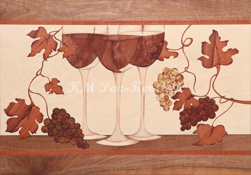 marquetry picture -Wine and three glasses