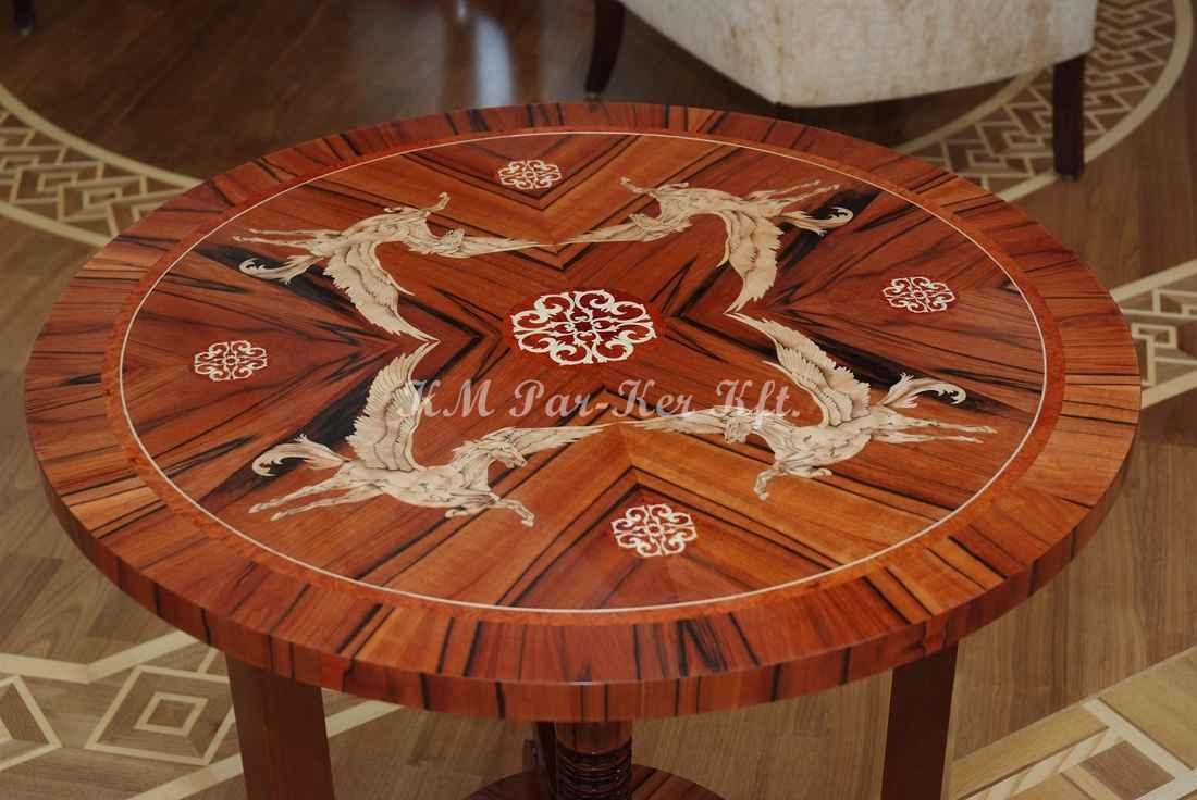 marquetry table, Pegasus