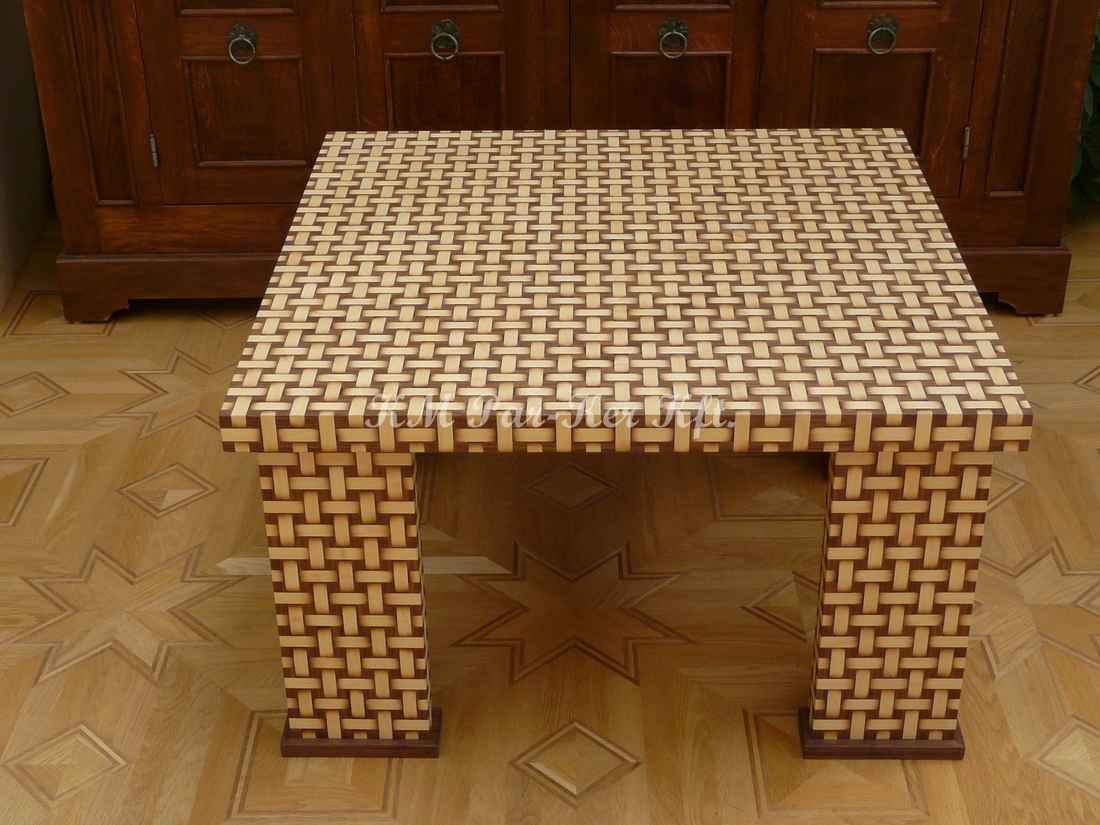 marquetry table, Woven