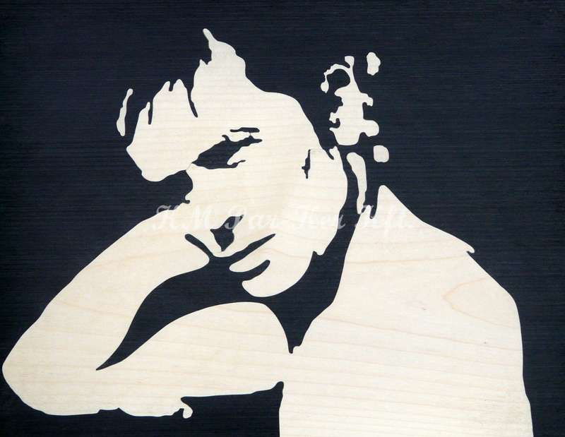 wood inlay art -Alain Delon