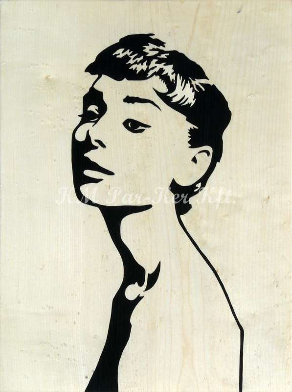 wood inlay art -Audrey Hepburn