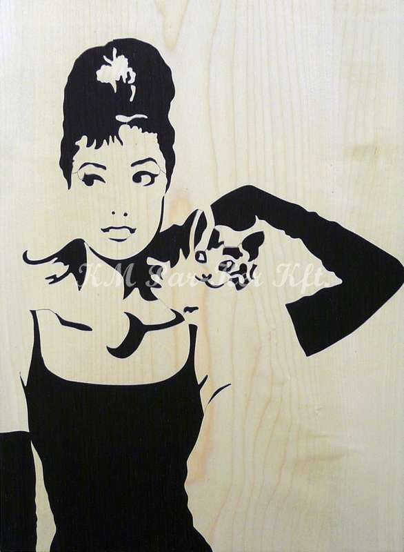 wood inlay art -Audrey Hepburn with cat