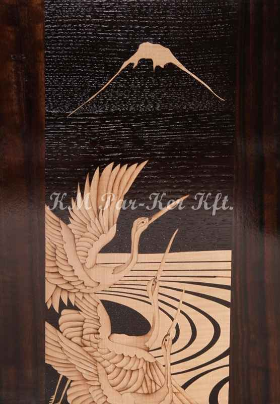 wood inlay art -Crane bird