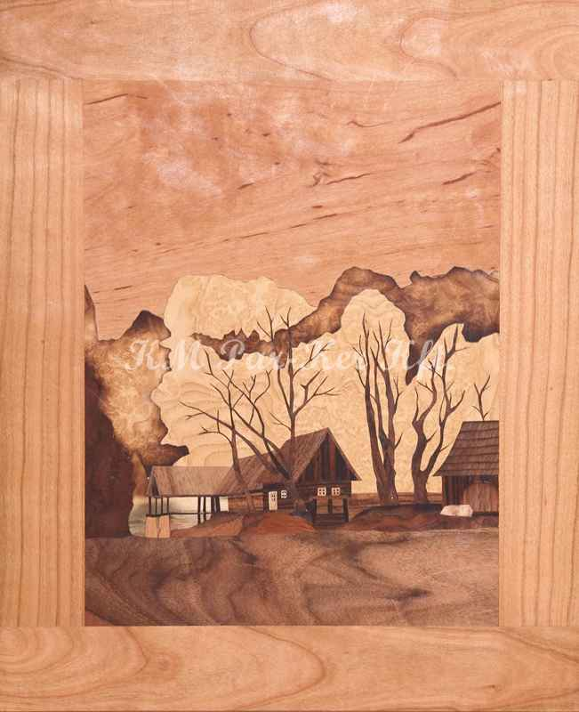 wood inlay art -Forrest