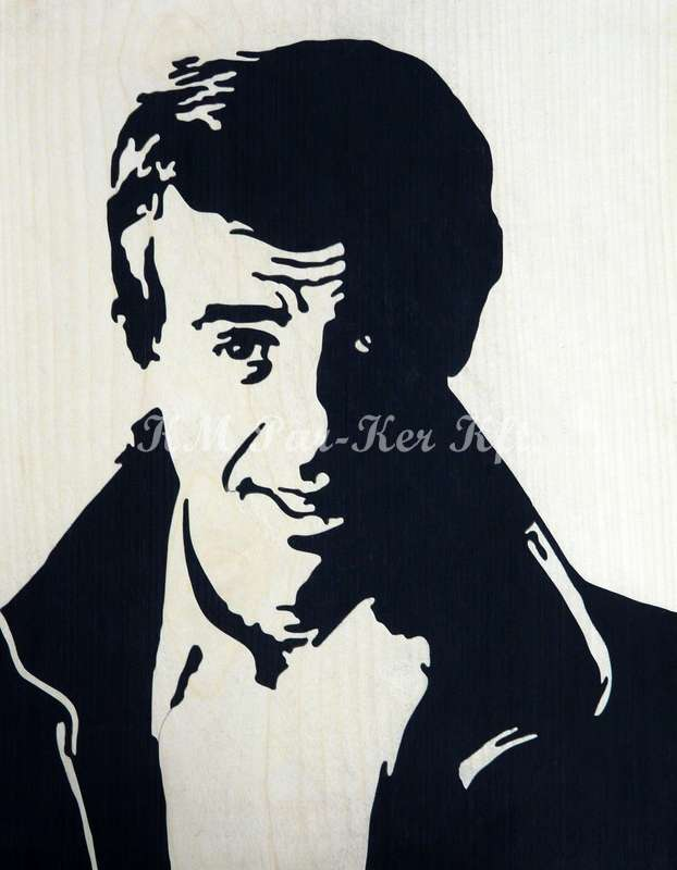 wood inlay art -Jean Paul Belmondo