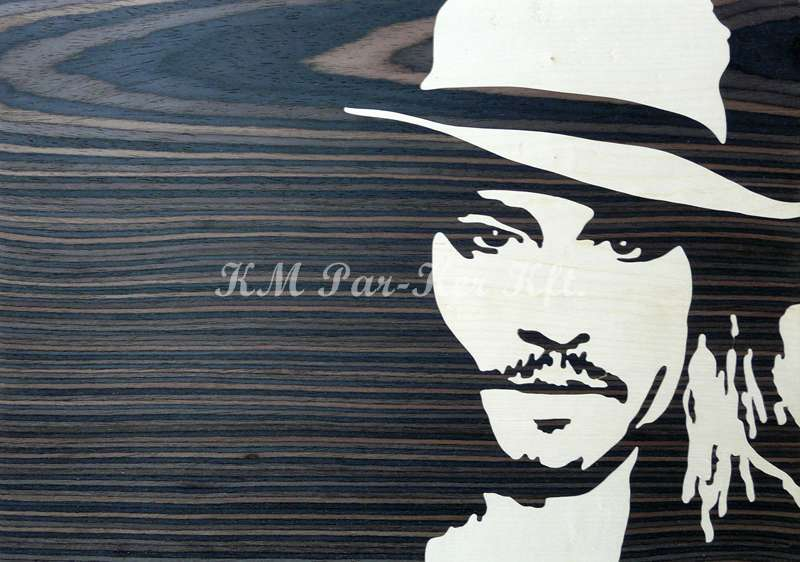 wood inlay art -Johnny Depp