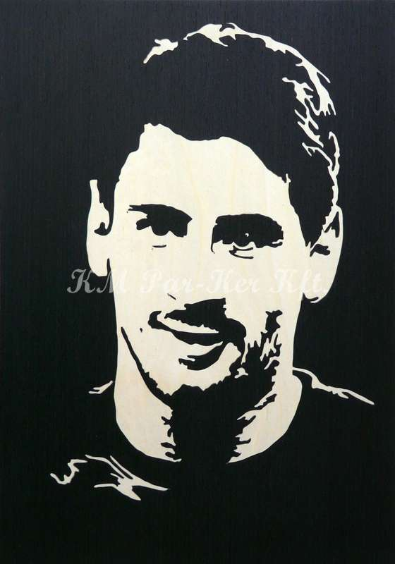 wood inlay art -Lionel Messi