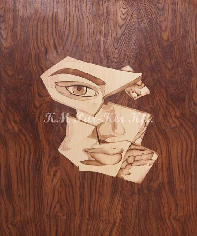 wood inlay art -Mirror face
