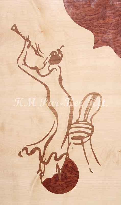 wood inlay art -Women with clarinet