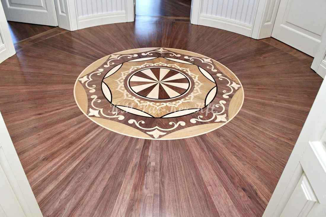 wood inlay floor 03, Orient medallion (walnut, oak, maple)
