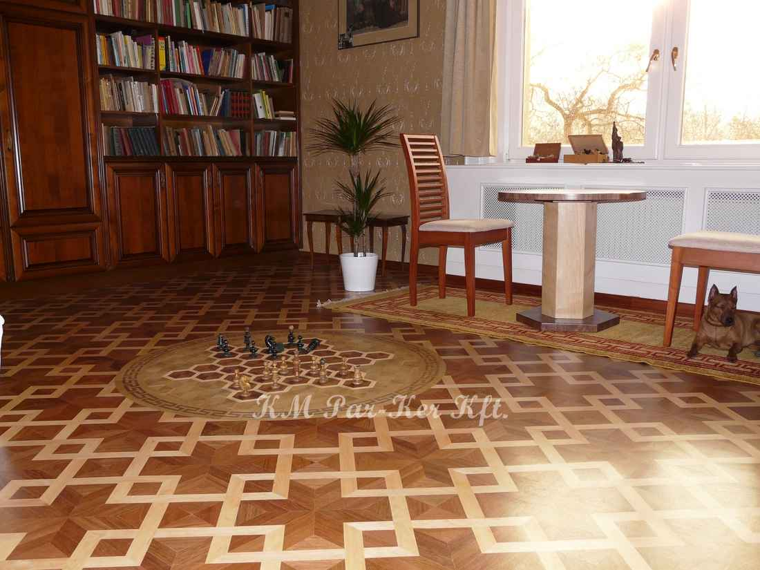 wood inlay floor 05, Net 1, Chess (walnut, maple)