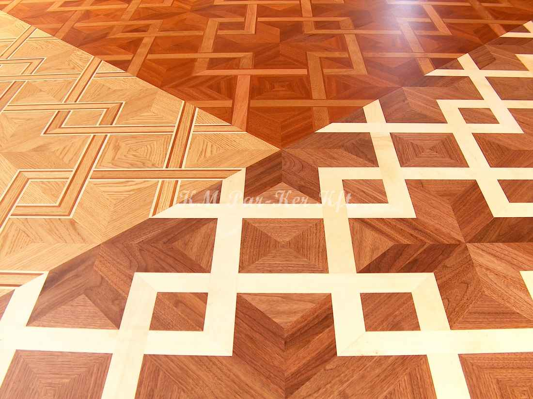 wood inlay floor 13, Net 1 (walnut, maple)-7 (oak, mahagony, maple)-10 (mahagony, doussie, jatoba)