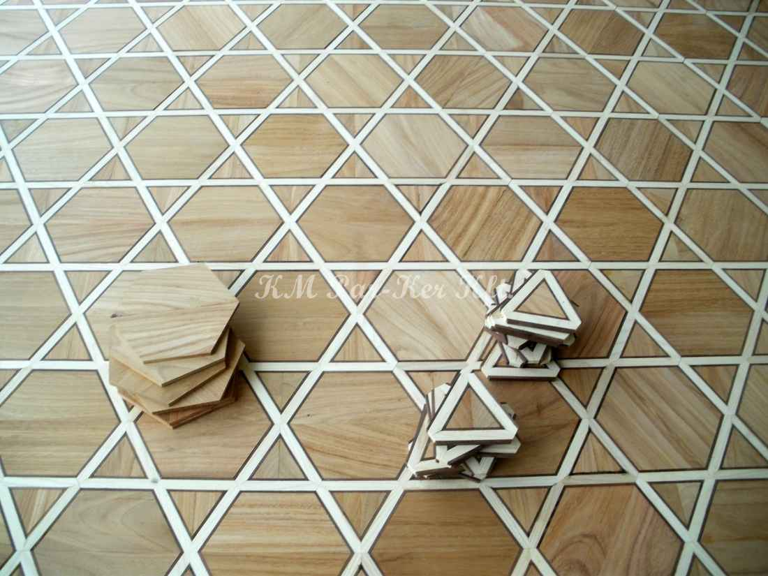 wood inlay floor 16, Hexagram (cherry, maple, walnut)