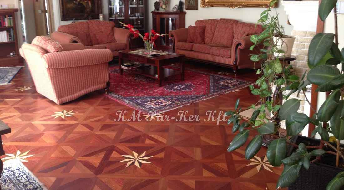 wood inlay floor 22, Star 3 (mahagony, maple. walnut)