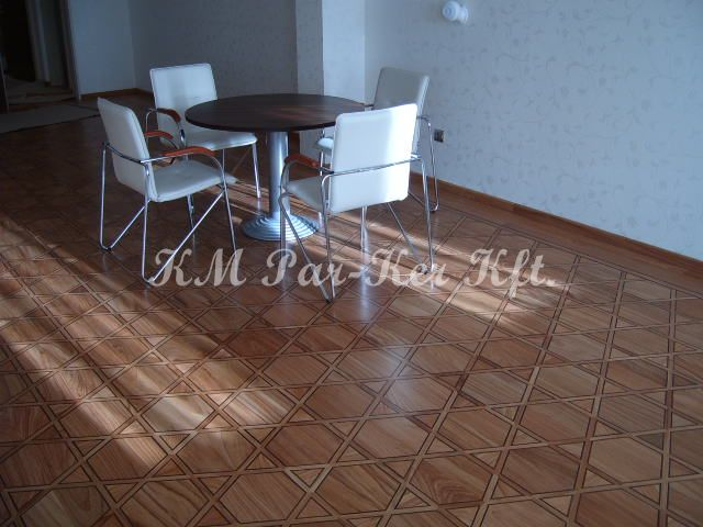 wood inlay floor 28, Hexagram (cherry, wenge)