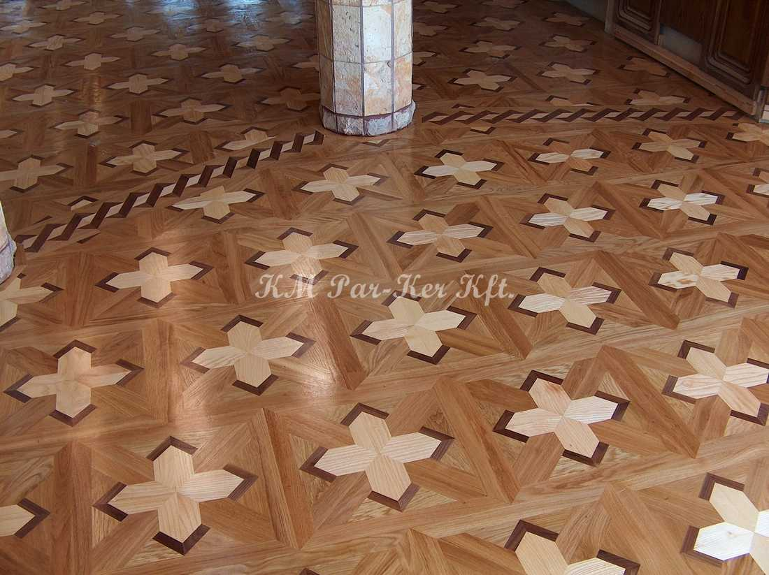 wood inlay floor 36, Sarolta 1 (oak, walnut, ash)