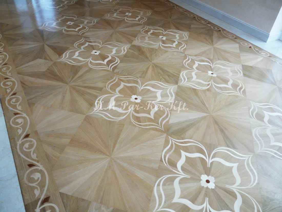 wood inlay floor 53, Lilian (oak, maple, mahagony)