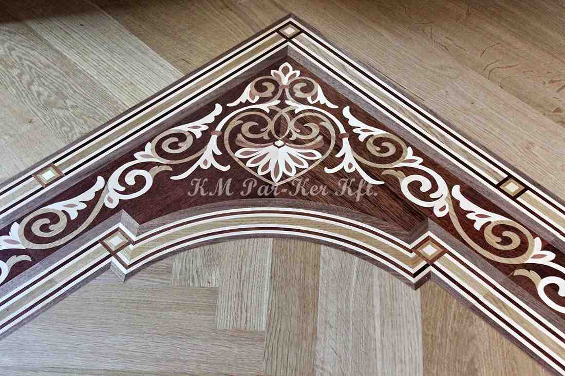 wood inlay floor border 02, mahogany corner