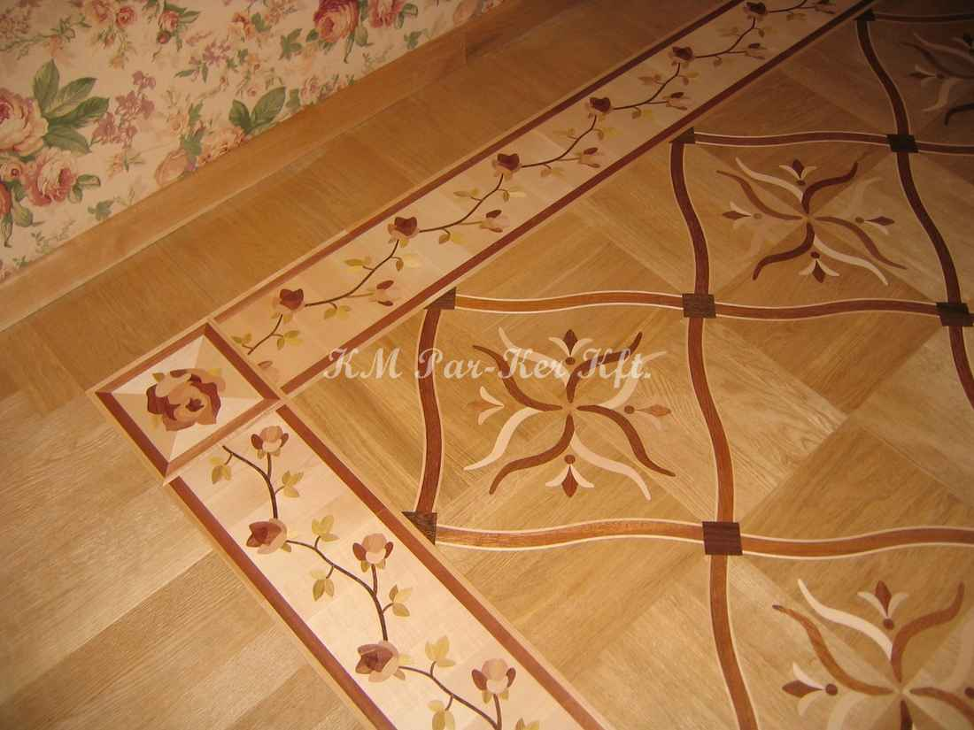 wood inlay floor border 04, flowers
