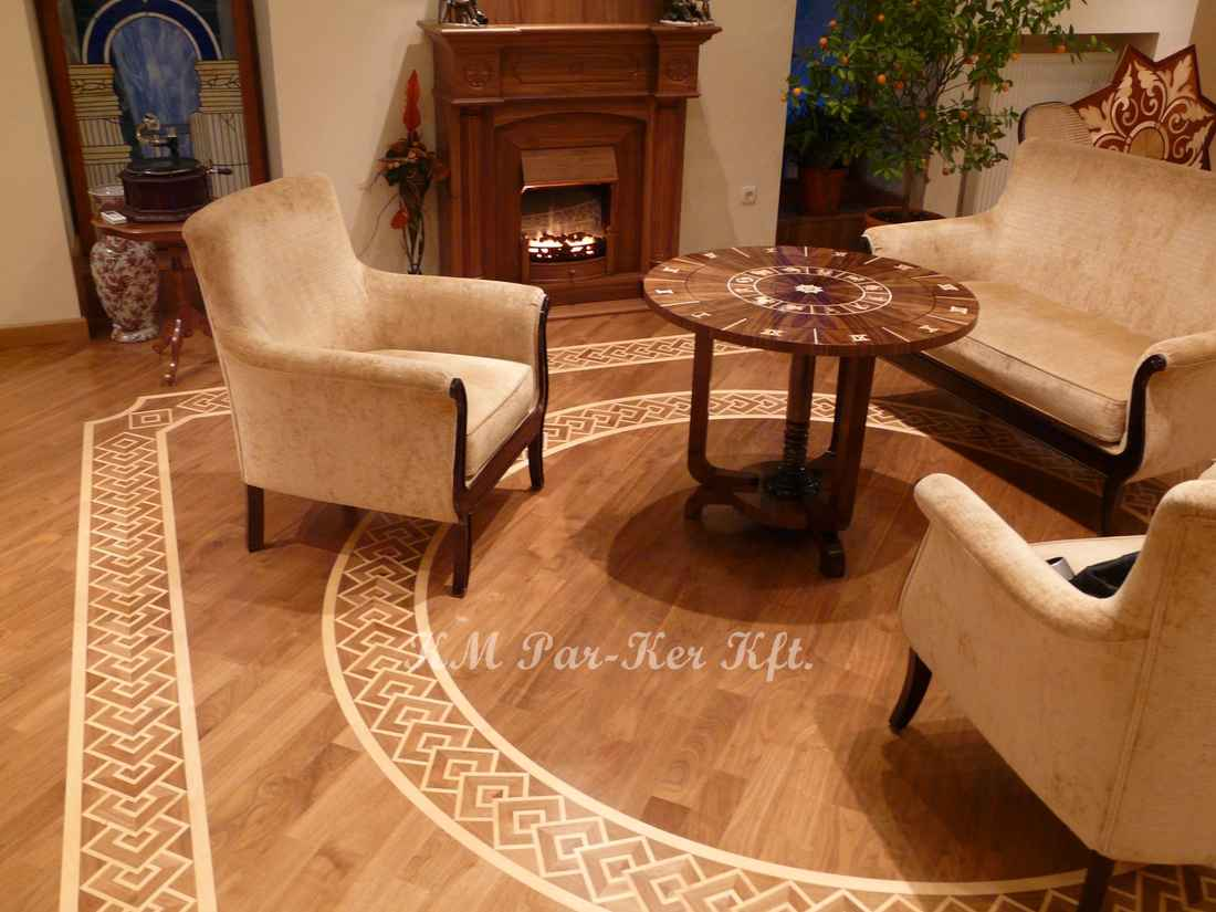 wood inlay floor border 06, maple Python