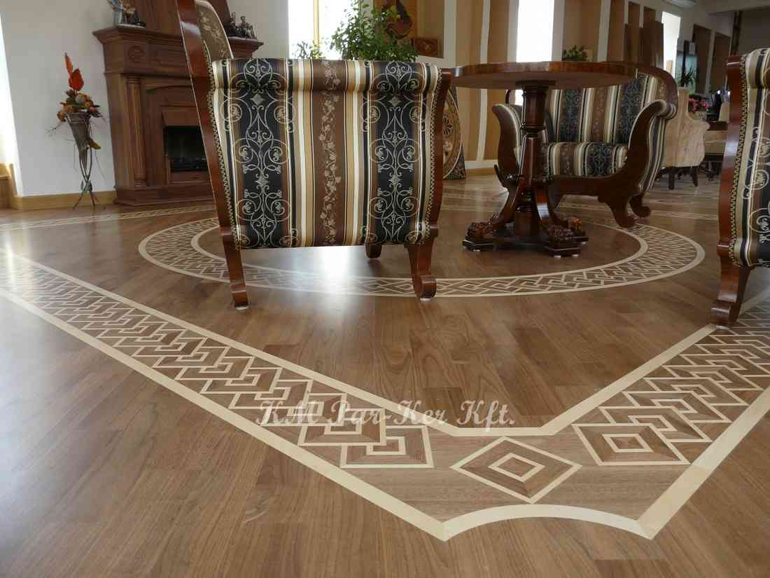 wood inlay floor border 07, maple