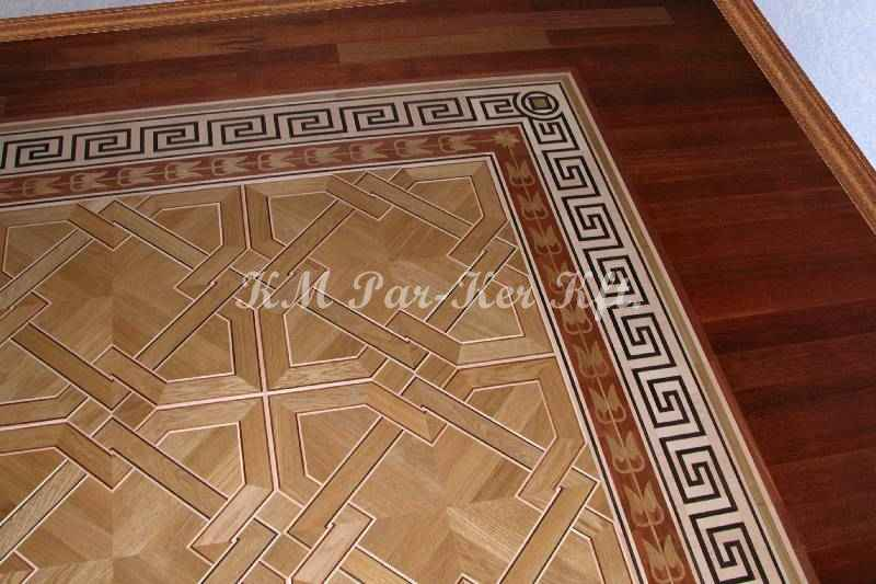 wood inlay floor border 12, Greek pattern