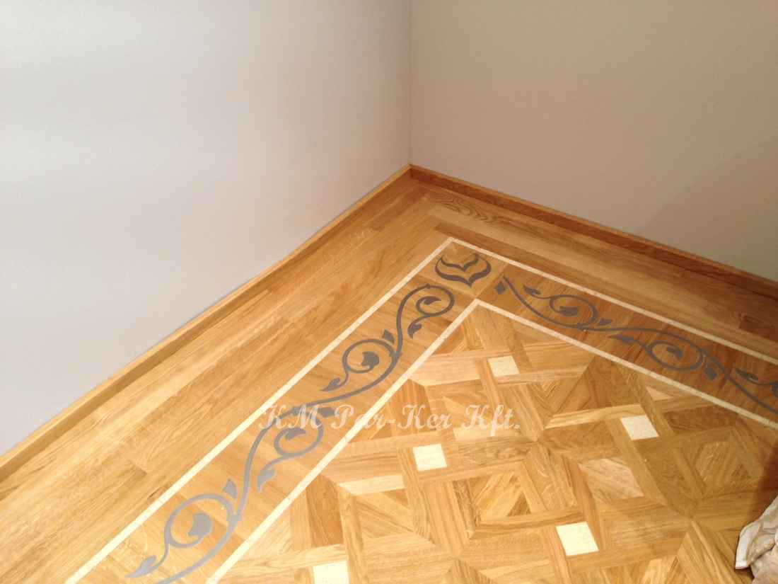 wood inlay floor border 14, Metal Tendril design