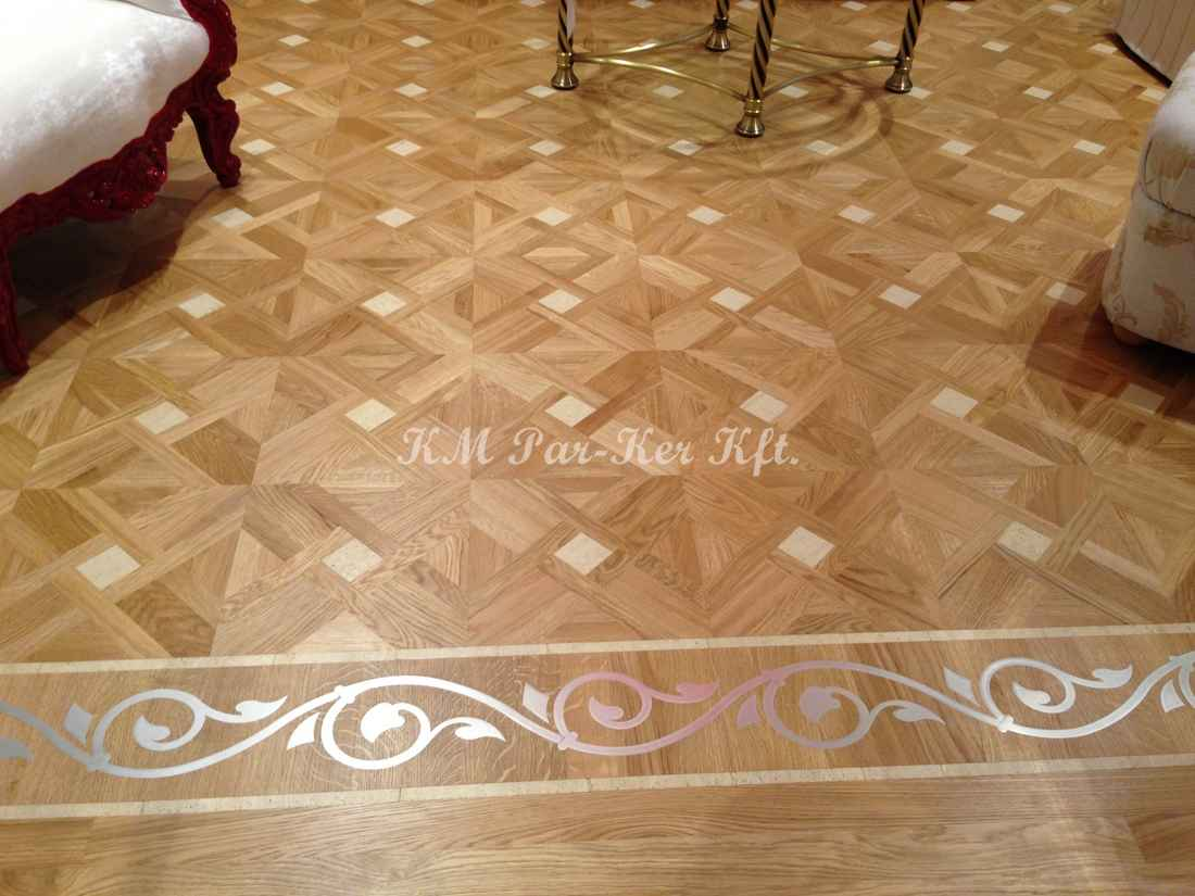wood inlay floor border 15, Metal Tendril design