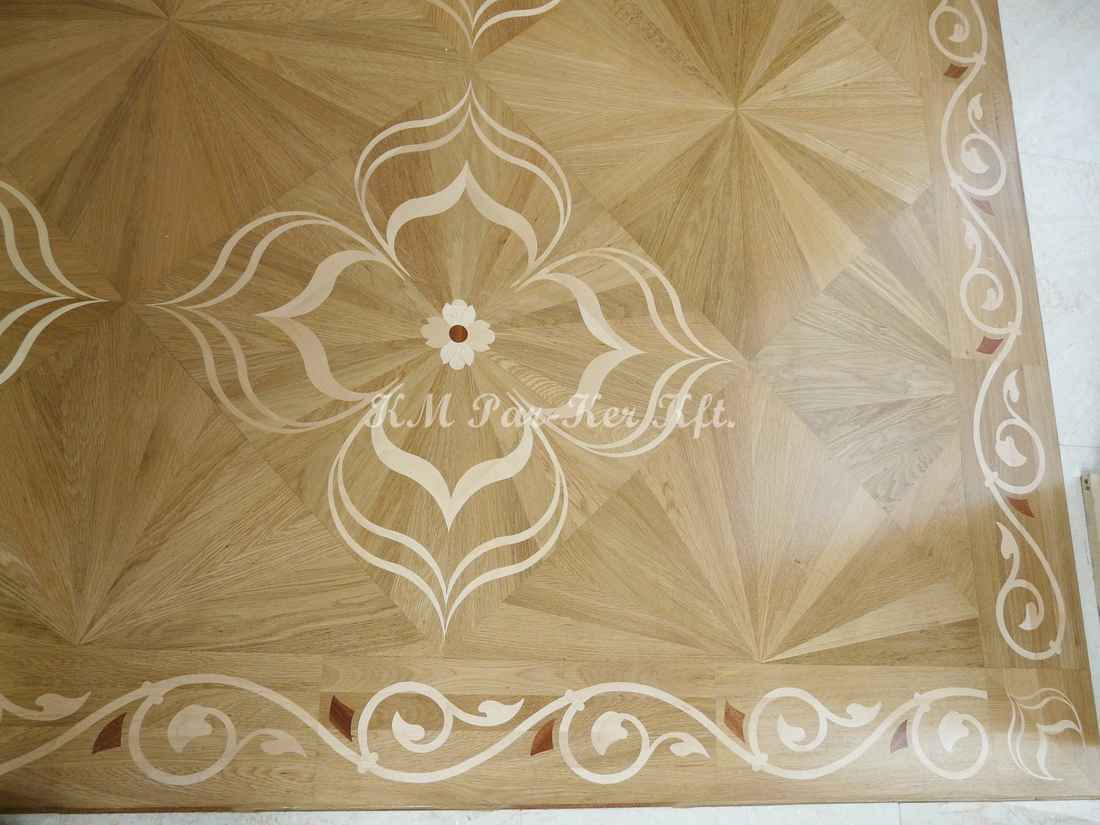 wood inlay floor border 18, oak Tendril design