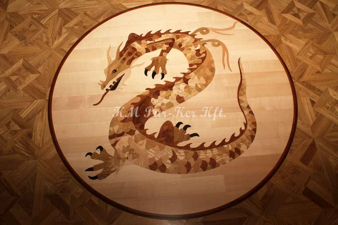 wood inlay floor medallion 02, Chinese Dragon